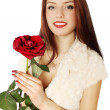 Woman holding a rose — Stock Photo