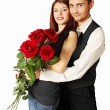 Stock Photo: Young couple with bouquet