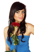 Brunette with Rose — Stock Photo