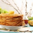Pancakes and willow branches - Stok fotoğraf