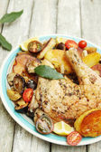 Leg of chicken with vegetables — Stock Photo