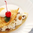 Pancake with cherry — Stock Photo