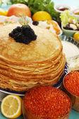 Caviar on pancakes — Stock Photo