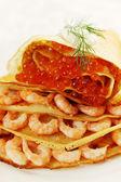 Pannkaka med skaldjur — Stockfoto