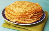 Pile of ruddy pancakes — Stock Photo