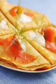 Shrovetide with smoked salmon — Stock Photo