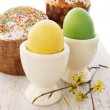 Cakes and eggs — Stock Photo