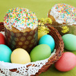Royalty-Free Stock Photo: Colored eggs and cake