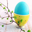 Turquoise egg in yellow stand — Stock Photo #22268419