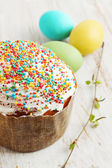 Sprinkle cake with multicolored — Stock Photo