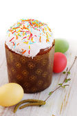 Easter cakes and birch branches — Stock Photo