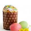 Easter cakes with Tussilago farfara — Stock Photo