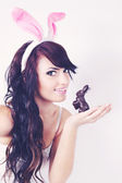 Woman with bunny,tinted — Stock Photo