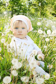 Little girl sits in dandelions — Stock Photo