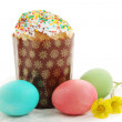 Easter cakes and Tussilago farfara — Stock Photo