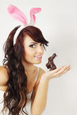 Woman with bunny — Stock Photo