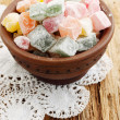 Turkish Delight in a clay bowl — Stock Photo