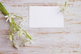 Card and bouquet — Stock Photo