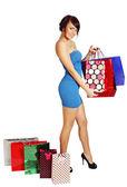 Frau mit einkaufstüten — Stockfoto