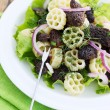 Salad with mushrooms — Stock Photo
