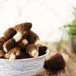 Stock Photo: Mushrooms on blue plate