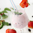 Mix of yogurt with strawberries - Stock Photo