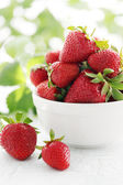 Plate of strawberries — Stock Photo