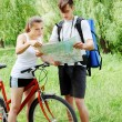 Stock Photo: Hiker and cyclist