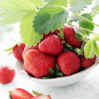 Stock Photo: Strawberry with leaves