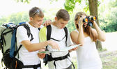 Group of young backpackers — Stock Photo