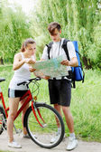 Hiker and cyclist — Stock Photo