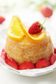 Dessert with oranges and strawberries — 图库照片