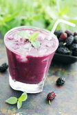 Cocktail of yogurt with mulberry — Stock Photo