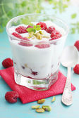 Dessert with raspberries — Stock Photo