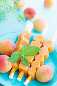Ice cream with apricot and mint — Stock Photo