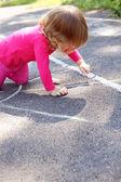 Girl draws — Stock Photo