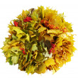 Wreath of yellow maple leaves — Stock Photo
