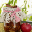Jar of apple jam — Stock Photo