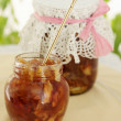 Jam-jar with spoon — Stock Photo #34246241