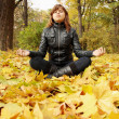 Young woman meditates — Stock Photo