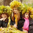Three Beauties in a wreath — Stock Photo