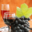 Stock Photo: Wine glass and grapes