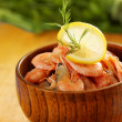 Stock Photo: Shrimp with lemon