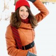 Woman holding a snowball — Foto de Stock