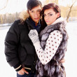 Couple on nature in winter — Stock Photo