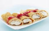 Pancake with raspberry jam — Stock Photo