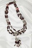 Luxurious garnet necklace — Stock Photo