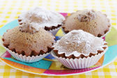 Chocolate cupcakes with cream — Stock Photo