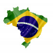 Map of Brazil with waving flag isolated on white — Stock Photo #11094645