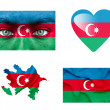Set of various Azerbaijan flags — Stock Photo